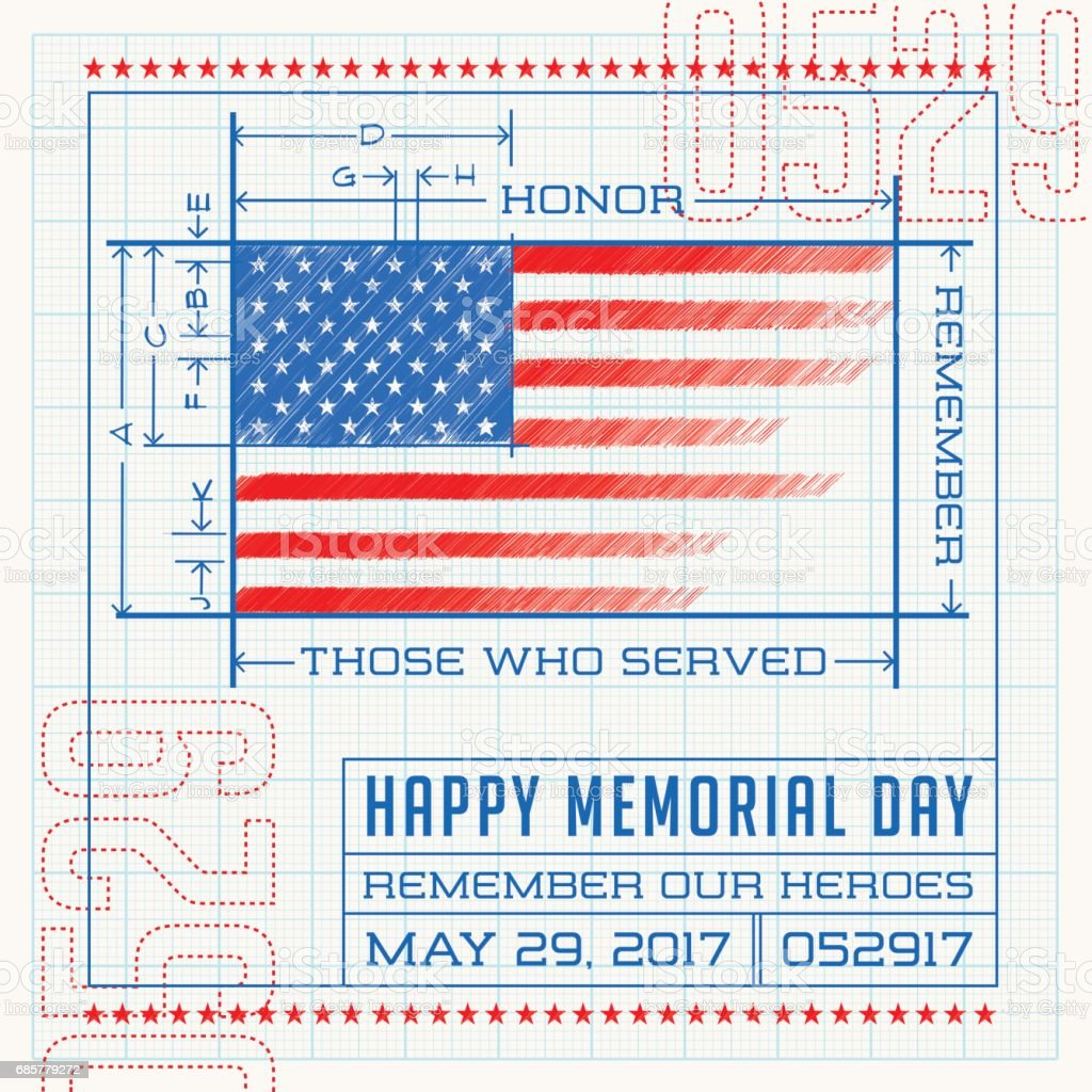 Happy memorial day card or banner american flag drawing as a happy memorial day card or banner american flag drawing as a blueprint or diagram malvernweather Gallery