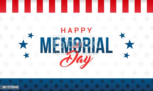 istock Happy Memorial Day Card Vector illustration. Typography on star pattern background. 961318946