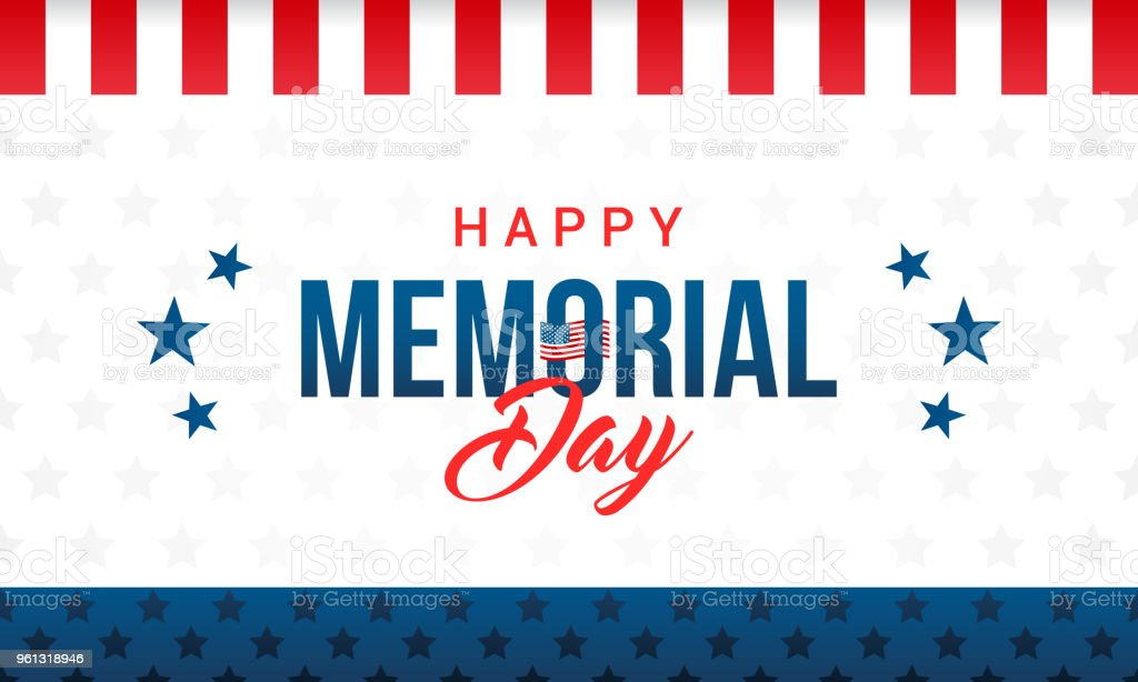 Happy Memorial Day Card Vector illustration. Typography on star pattern background. vector art illustration