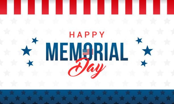 happy memorial day card vector illustration. typography on star pattern background. - memorial day stock illustrations
