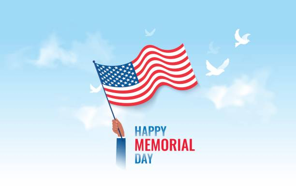 Happy Memorial Day  flyer, banner or poster. Happy Memorial Day  flyer, banner or poster. Holiday background with waving flag and pigeons. Vector illustration american flag illustrations stock illustrations