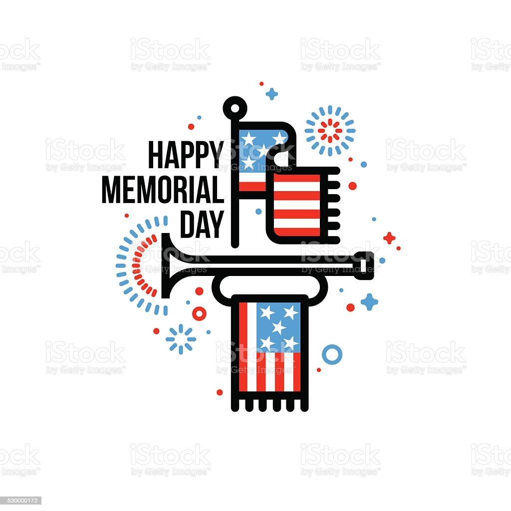 Happy Memorial Day greeting card with American flag and bugle vector art illustration