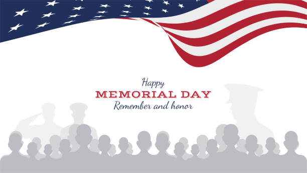 happy memorial day. greeting card with flag and soldier on background. national american holiday event. flat vector illustration eps10 - memorial day stock illustrations