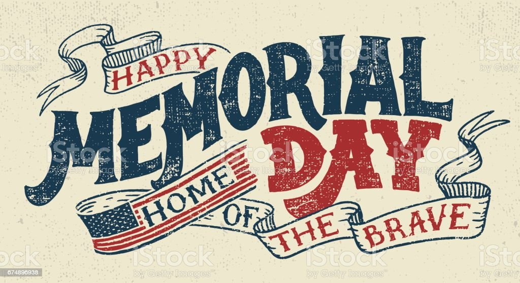 Happy Memorial Day hand lettering greeting card vector art illustration
