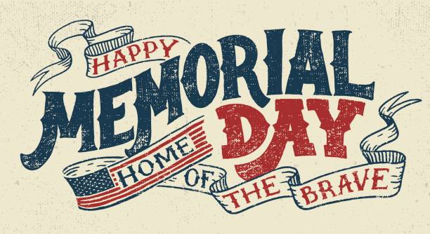 happy memorial day hand lettering greeting card - memorial day weekend stock illustrations