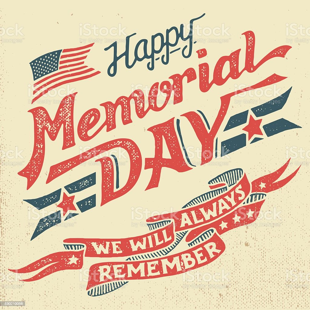 Happy Memorial Day hand-lettering greeting card vector art illustration