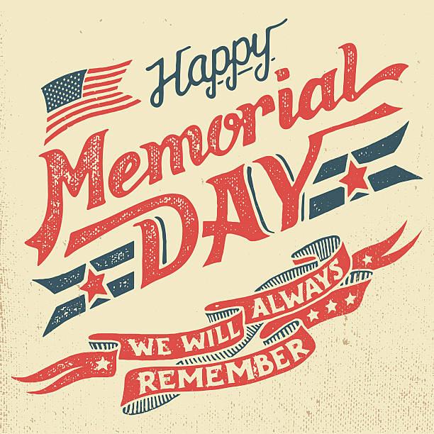 счастливого дня памяти вручную надпись поздравительная открытка - memorial day weekend stock illustrations