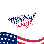 Happy Memorial Day handwritten phrase in vector. National american holiday illustration with USA flag. Festive poster, greeting card, invitation etc.