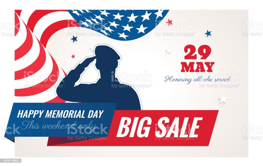 Happy Memorial Day sale banner. vector art illustration