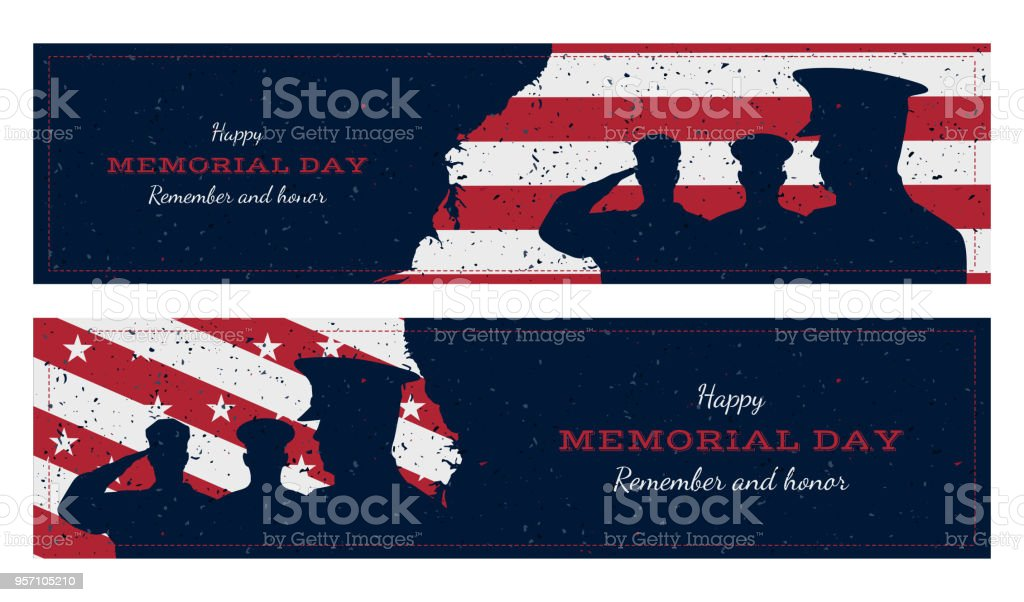 Happy memorial day. Set vintage retro greeting card with flag and soldier with old-style texture. National American holiday event. Flat Vector illustration EPS10 vector art illustration