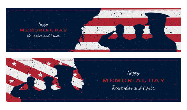 happy memorial day. set vintage retro greeting card with flag and soldier with old-style texture. national american holiday event. flat vector illustration eps10 - memorial day stock illustrations