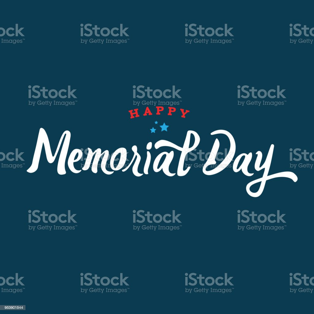 Happy Memorial Day Text Vector vector art illustration
