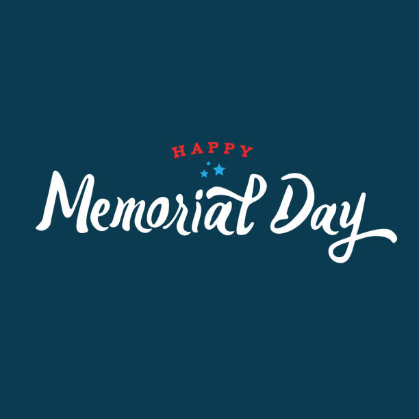 happy memorial day text vector - memorial day stock illustrations, clip art, cartoons, & icons