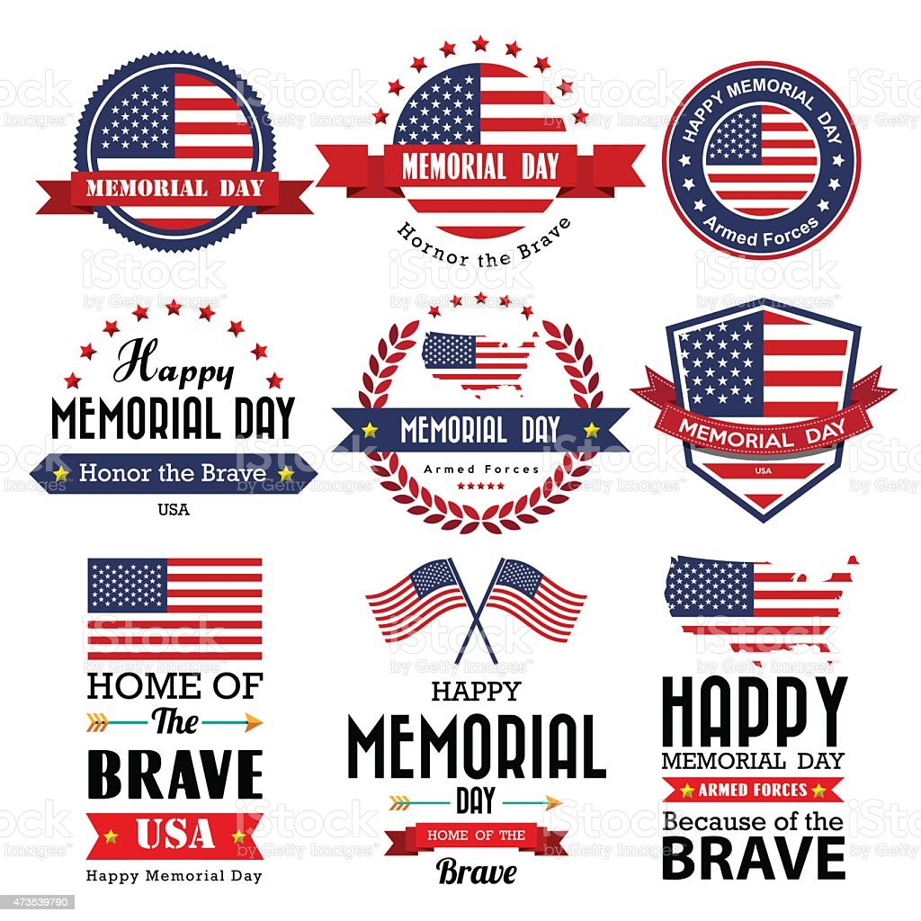 Happy Memorial Day vector greeting card ,badge and labels vector art illustration