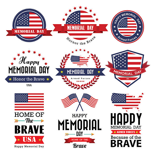 happy memorial day vector greeting card ,badge and labels - memorial day stock illustrations, clip art, cartoons, & icons
