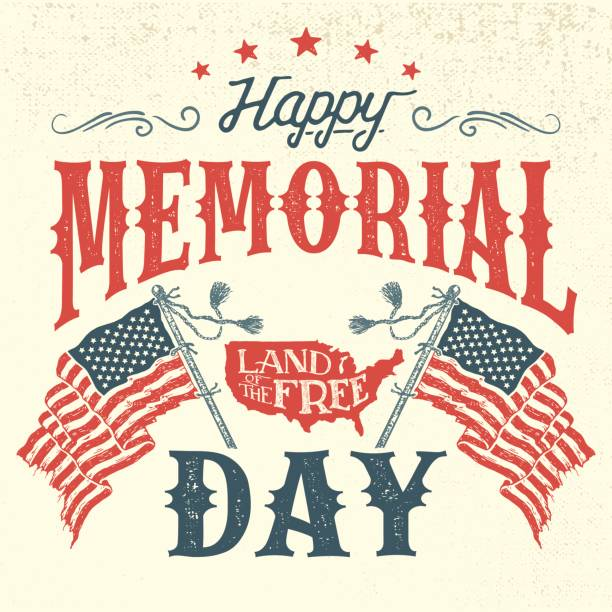 happy memorial day vintage greeting card - memorial day weekend stock illustrations
