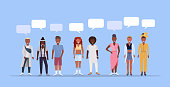happy men women standing together chat bubble communication african american people wearing trendy clothes male female cartoon characters full length blue background horizontal vector illustration