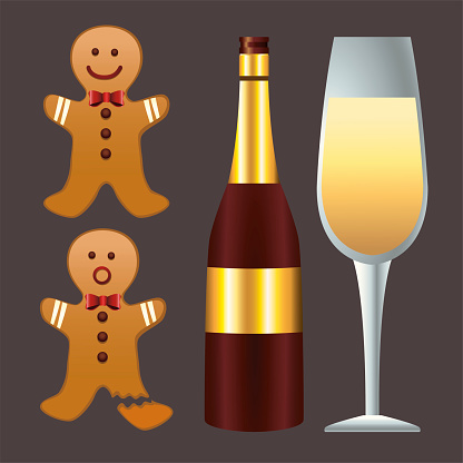happy merry christmas champagne and gingerman cookies