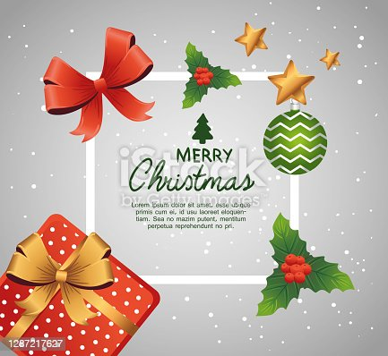 istock happy merry christmas lettering card with gift and decorative icons 1287217627
