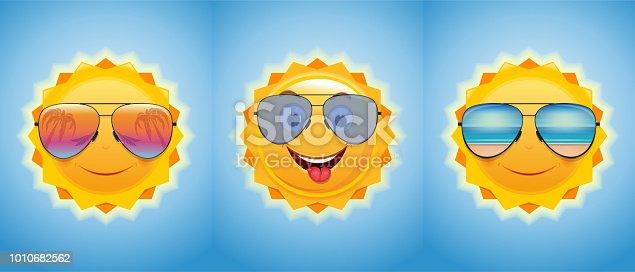 Happy merry sun in sunglasses. Joyful summer suns set. Vector illustration