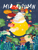 Happy  mid autumn festival! Cute vector illustration for poster, card or banner for chinese holiday. Drawings of rabbits, moon, trees, lanterns and clouds
