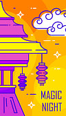 Happy Mid-Autumn Festival card with temple, lantern and clouds on orange background. Thin line flat design. Vector banner.