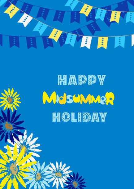 bildbanksillustrationer, clip art samt tecknat material och ikoner med glad midsommar-kort - summer sweden