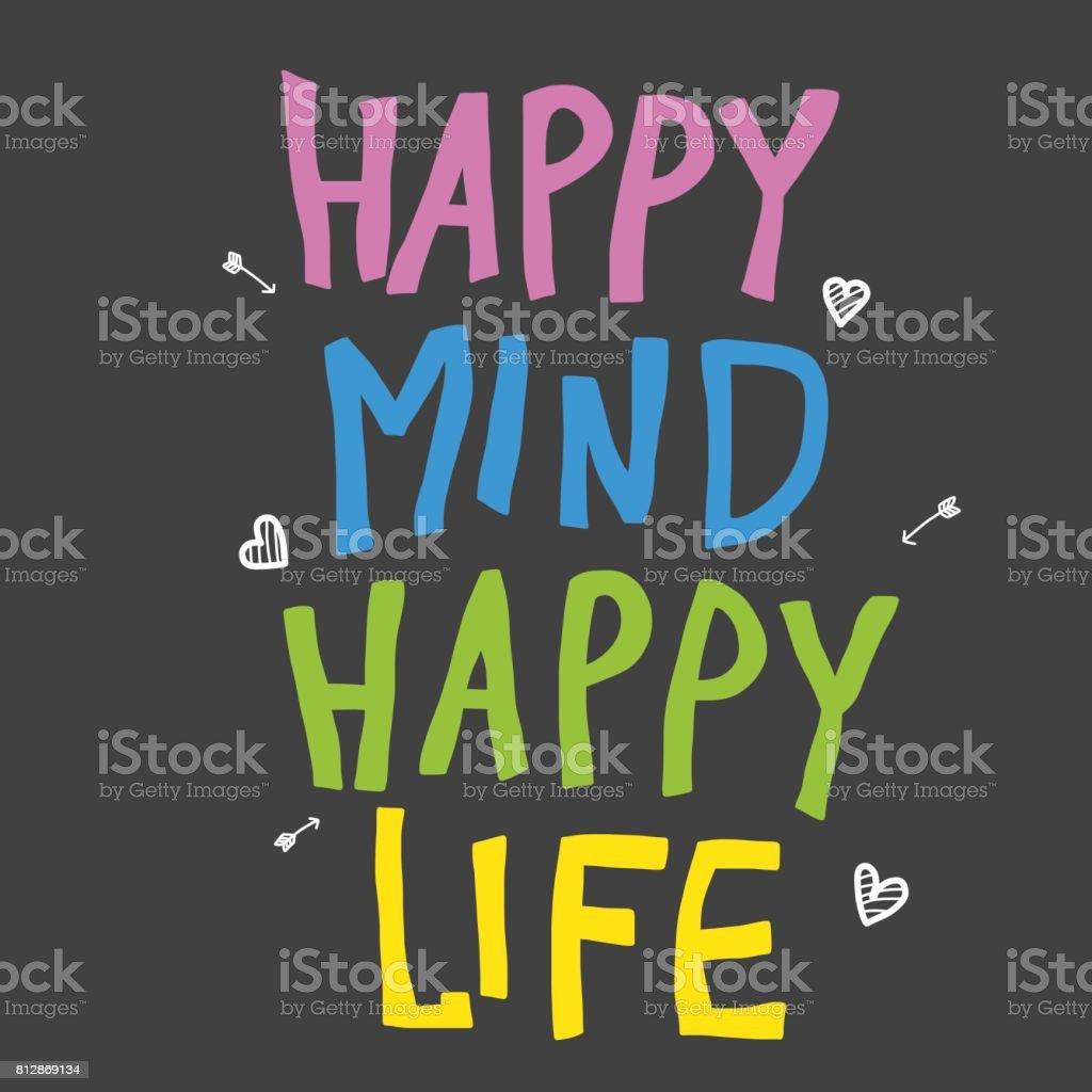Glücklichen Geist glücklich Leben bunt Wort Vektor-illustration – Vektorgrafik
