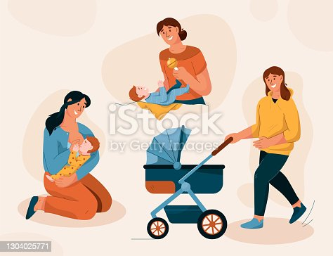 Happy mom and baby set. Mother breastfeeding child