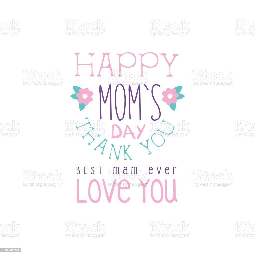 Glückliche Mütter Tag Logo Vorlage Beste Mutter Danke Liebe Sie ...