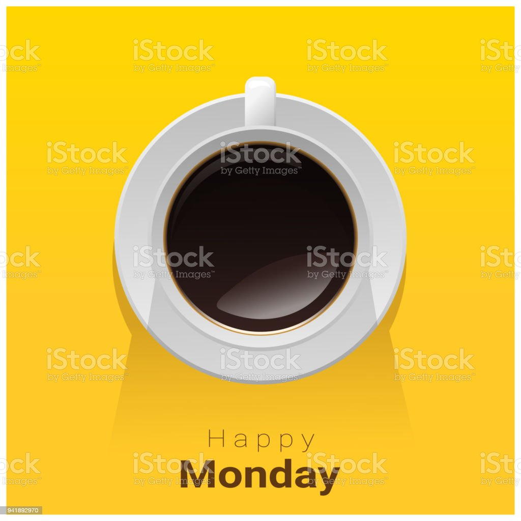 Happy Monday With Top View Of A Cup Of Coffee On Yellow Background