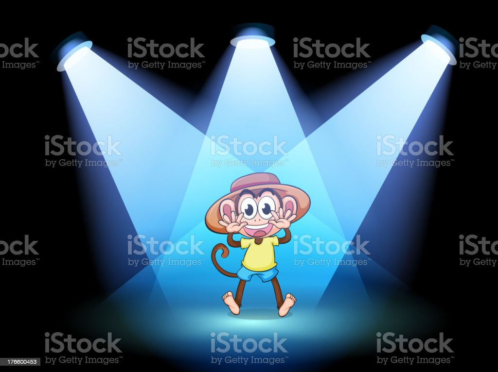 happy monkey at the center of stage royalty-free stock vector art