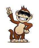 Cartoon laughing monkey character in sunglasses showing V-sign with his fingers