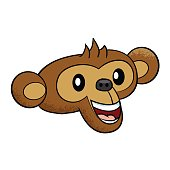 happy Monkey face Cartoon