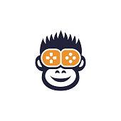 Happy monkey gamer flat icon, animal player and game joystick vector illustration isolated on white background