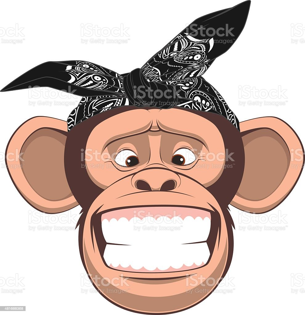 Happy monkey vector art illustration