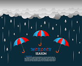 Happy Monsoon season background template with cloud rain and umbrella for banner poster flyer or advertising.