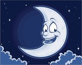 Vector Illustration of a happy moon with a friendly smile on his face. File saved on layers for easy editing.