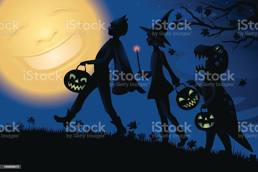 Happy moon watches three Trick or Treaters. royalty-free happy moon watches three trick or treaters stock vector art & more images of anthropomorphic