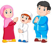 illustration of Happy moslem family