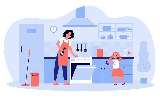 Happy mother and daughter cleaning kitchen together