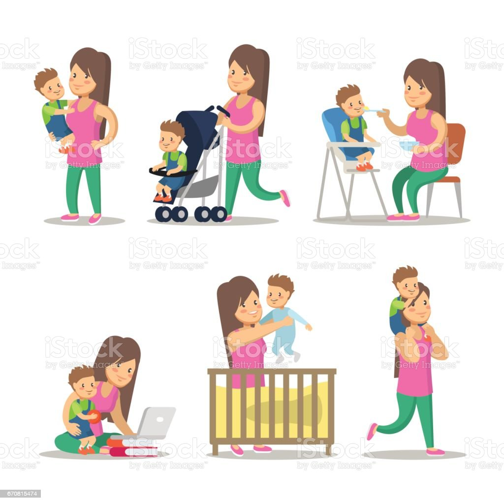 Happy Mother and Son Cartoons. Motherhood vector art illustration