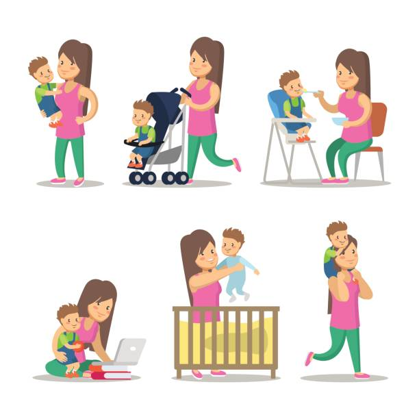 happy mother and son cartoons. motherhood - babysitter stock illustrations, clip art, cartoons, & icons