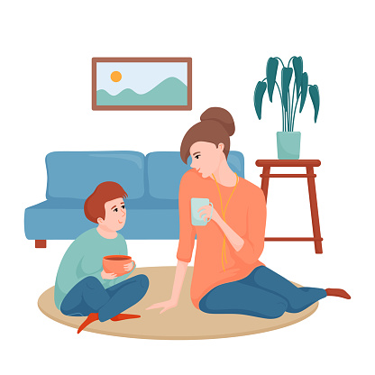 Happy mother and son sitting on the floor in the living room, drinking tea and talking, spending time together, flat cartoon vector illustration isolated on white background. Mom and son drinking tea