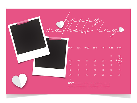 Happy Mother Day. 2021 Desk Calendar Design - May month, Set of polaroid vector photo frames on sticky tape on pink background.