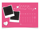 istock Happy Mother Day. 2021 Desk Calendar Design - May month, Set of polaroid vector photo frames on sticky tape on pink background. 1314533810