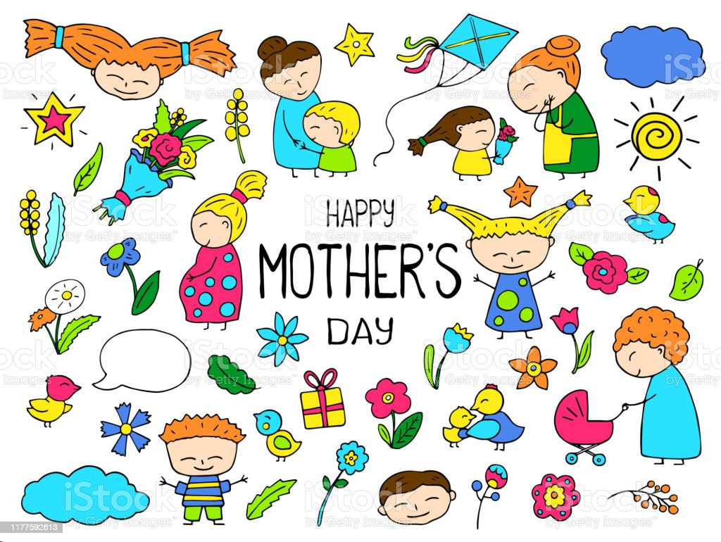 Happy Mother Day Colorful Vector Clipart Mom And Child Vibrant Icon Childish Doodles With Happy Children Stock Illustration Download Image Now Istock