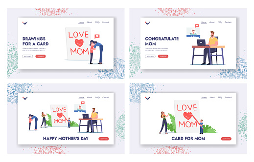 Happy Mother Day Landing Page Template Set. Tiny Child Character Writing Love Mom on Page, Children Congratulate Mothers