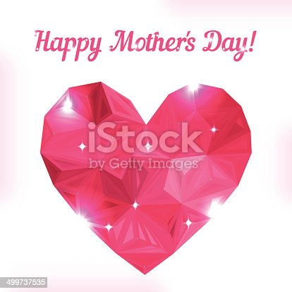 Happy Mother Day Love Symbol Pink Origami Heart On White