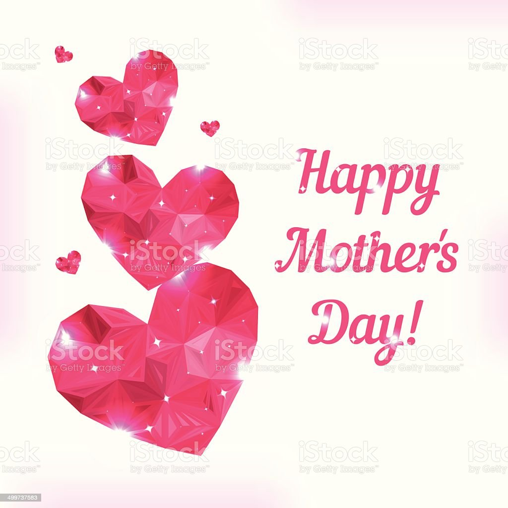 Happy Mother day. Love symbol. Pink origami heart on white. vector art illustration